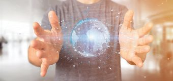 Équipez tenir un globe de la terre de données du rendu 3d Photos stock