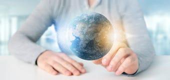 Équipez tenir un globe de la terre de particules du rendu 3d Photo stock