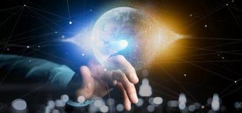 Équipez tenir un globe de la terre de particules du rendu 3d Images libres de droits