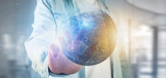 Équipez tenir un globe de la terre de particules du rendu 3d Photos stock