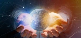 Équipez tenir un globe de la terre de particules du rendu 3d Image libre de droits