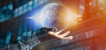 Équipez tenir un globe de la terre de particules du rendu 3d Photographie stock libre de droits