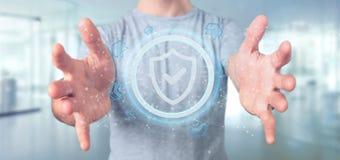 Équipez tenir un rendu du concept 3d de sécurité de Web de bouclier Image libre de droits