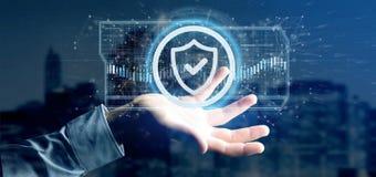 Équipez tenir un rendu du concept 3d de sécurité de Web de bouclier Image stock
