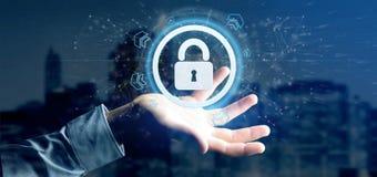 Équipez tenir un rendu du concept 3d de sécurité de Web de cadenas Image libre de droits