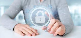 Équipez tenir un rendu du concept 3d de sécurité de Web de cadenas Photos stock