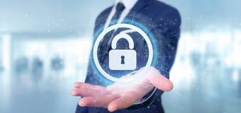 Équipez tenir un rendu du concept 3d de sécurité de Web de cadenas Photographie stock libre de droits