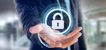 Équipez tenir un rendu du concept 3d de sécurité de Web de cadenas Images stock