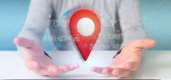 Équipez tenir un support de goupille du rendu 3d sur un globe avec la coordonnée Photographie stock