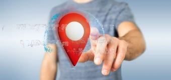 Équipez tenir un support de goupille du rendu 3d sur un globe avec la coordonnée Images stock