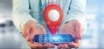 Équipez tenir un support de goupille du rendu 3d sur un globe avec la coordonnée Photo stock