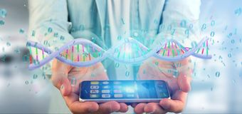 Équipez tenir une ADN codée par données du rendu 3d avec l'aroun de fichier binaire Images libres de droits