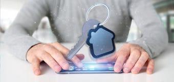 Équipez tenir une clé et un rendu de la maison 3d Image libre de droits