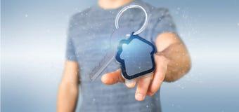 Équipez tenir une clé et un rendu de la maison 3d Images stock