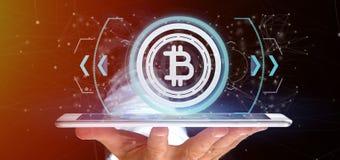 Équipez tenir une icône de Bitcoin de technologie sur un rendu du cercle 3d Images stock