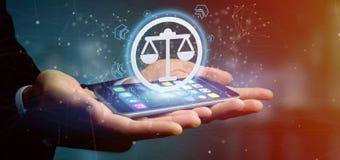 Équipez tenir une icône de justice de technologie sur un rendu du cercle 3d Images libres de droits