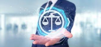 Équipez tenir une icône de justice de technologie sur un rendu du cercle 3d Photographie stock