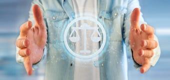 Équipez tenir une icône de justice de technologie sur un rendu du cercle 3d Photographie stock libre de droits