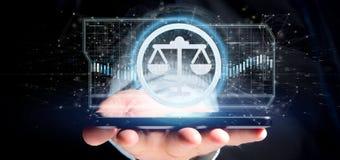 Équipez tenir une icône de justice de technologie sur un rendu du cercle 3d Photo libre de droits