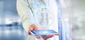 Équipez tenir une icône de justice de technologie sur un rendu du cercle 3d Image stock