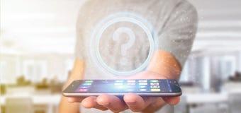 Équipez tenir une icône de point d'interrogation de technologie sur un rende du cercle 3d Image stock