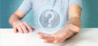 Équipez tenir une icône de point d'interrogation de technologie sur un rende du cercle 3d Photos libres de droits