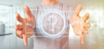 Équipez tenir une icône de point d'interrogation de technologie sur un rende du cercle 3d Images stock