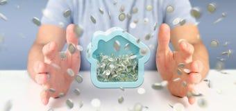 Équipez tenir une tirelire de Chambre avec la pièce de monnaie entourant partout dans 3d r Image libre de droits