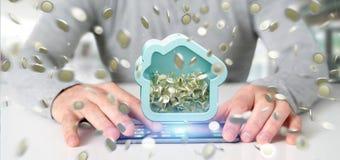 Équipez tenir une tirelire de Chambre avec la pièce de monnaie entourant partout dans 3d r Photos stock