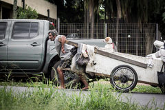 Équipez tirer un chariot avec un chien, Brésil Photos stock