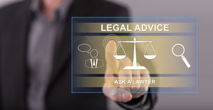 Équipez toucher un concept d'avis juridique sur un écran tactile Photographie stock libre de droits