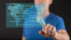 Équipez toucher un concept de transfert des données sur un écran tactile images libres de droits
