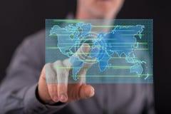 Équipez toucher un concept de transfert des données sur un écran tactile images stock