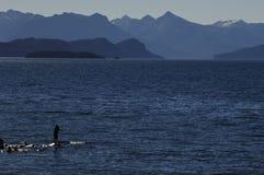 Équipez tranquillement la pêche sur le milieu de falaises de la mer Photographie stock libre de droits
