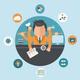 Équipez travailler sur des projets différents de son bureau Concept d'auto-emploi et de traitement multitâche Vecteur plat illustration stock