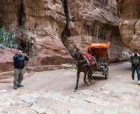 Équitation bédouine dans un chariot dessiné par un cheval dans Al-Siq de canyon dans PETRA près de la ville de Wadi Musa en Jorda photographie stock libre de droits