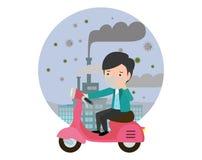 Équitation d'homme sur leurs motocyclettes , masque de port d'homme contre le brouillard enfumé La poussière fine, pollution atmo illustration stock