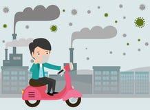 Équitation d'homme sur leurs motocyclettes , masque de port d'homme contre le brouillard enfumé La poussière fine, pollution atmo illustration libre de droits