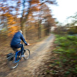 Équitation de bicyclette en stationnement de ville Photo stock
