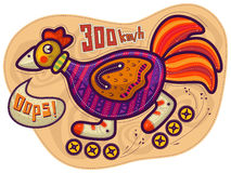 Équitation de coq sur les rouleaux Image libre de droits