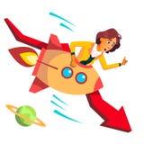 Équitation de femme d'affaires Rocket Falls Down On Background de vecteur rouge en baisse de flèche Illustration illustration stock
