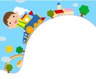 Équitation de gosse sur un train de jouet Image stock