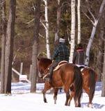 Équitation de horseback de deux personnes à l'extérieur dans la neige froide images stock