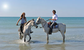 Équitation de Horseback en mer Photos stock
