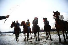 Équitation de l'hiver Photographie stock libre de droits