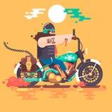 Équitation de motard avec le casque de coureur sur l'illustration plate de moto Image stock