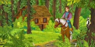 Équitation de noble de bande dessinée sur un cheval blanc - prince ou roi illustration de vecteur