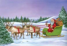 Équitation de Santa Claus sur le traîneau avec le renne le jour de Noël Photo stock