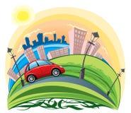 Équitation de véhicule à travers la ville Image stock