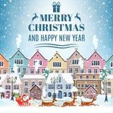 Équitation du père noël de Noël sur le traîneau illustration libre de droits